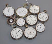 Ten silver pocket watches
