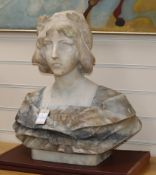 A marble bust of a girl H.54cm
