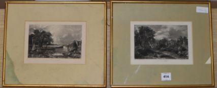 David Lucas after John Constable, two mezzotints, The Glebe Farm and River Stour, Suffolk, 14 x
