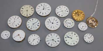 Sixteen pocket watch movements, verge movement etc