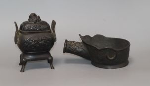 A Chinese bronze censer and an iron height 15cm
