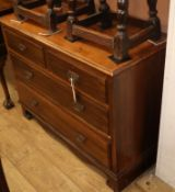 A late Victorian walnut four drawer chest W.108cm