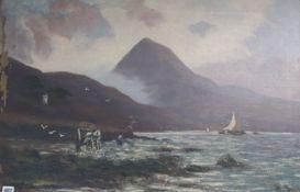 William Miller Frazer (1864-1961) oil on canvas, Coastal landscape with seaweed gatherer,