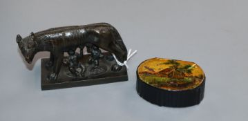 A Victorian snuff box and a bronze of Romulus and Remus