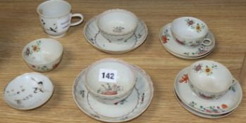 Thirteen pieces of Chinese porcelain teaware, including a Nanking Cargo tea cup