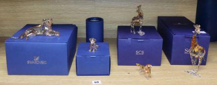 Five Swarovski amber glass animals, boxed tallest 20cm