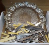 Nine assorted ivory handled knives and ten forks, a plated salver and other plated cutlery including