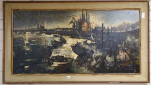 Comte Regis de Bouvier de Cachard (1929-?), oil on canvas, Chelsea Wharf, signed and dated '58, 60 x