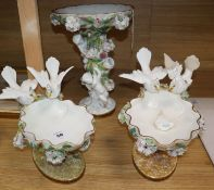 A Moore Bros. three piece garniture centrepiece (a.f.) largest 34cm