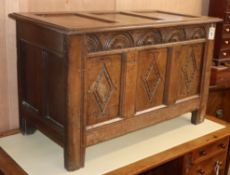 An 18th century and later oak coffer W.110cm
