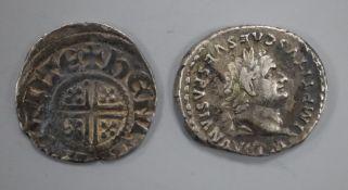Ancient Roman coins, Titus AR Denarius, Rome mint, 80AD, IMP TITVS CAES VESPASIAN AVG, laureate head