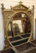 A 19th century giltwood and gesso overmantel, with oval plate H.175cm