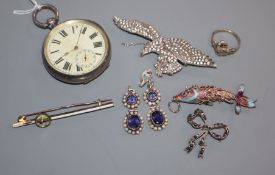 A silver pocket watch, an enamel fish ring, two brooches, a pair of earrings and an Essex crystal