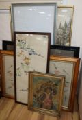 A Berlin needlework, seven other needleworks, a woolwork picture and a work panel W.92cm