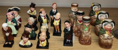 A group of nineteen Royal Doulton figures and toby jugs, eighteen Dickens characters
