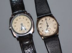 A gentlemans 1930's? Oyster manual wind wrist watch and a late 1920's silver wrist watch.