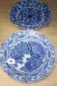 Two 18th century Delft dishes, de Byl factory and another largest diameter 35.5cm