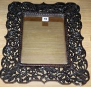 A Chinese hongmu framed mirror, c.1900 overall length 42cm overall width 37cm