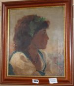 K. Way, oil on canvas, Sketch of an Italian girl wearing ivy in her hair, signed and dated 1899,