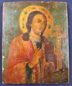 A 19th century Russian painted wood icon