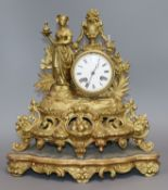 A French Spelter mantel clock and stand height 35cm