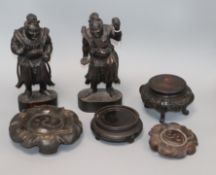 Two Japanese carved wood figures, Chinese and Japanese wood stands tallest 25cm