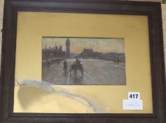 William Arthur Breakspeare (1856-1914) oil on board, View towards Westminster, 13 x 21cm