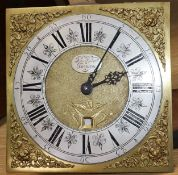A George III hour longcase clock movement, with square brass dial signed John Bonsall, Breason 29cm