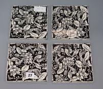 A set of four Minton tiles c1878, Seven Ages of Birds series approx. 15cm sq.