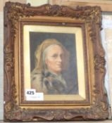 Continental School, oil on board, Portrait of a woman wearing a fur coat, indistinctly signed, 19
