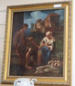 Italian School, oil on canvas, Italian landscape with figure having his foot attended to, 44 x 36cm