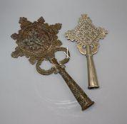 Two 19th century Ethiopian coptic crosses, for Staffs