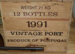 A case of twelve bottles of Graham's Port, 1991