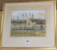 Modern British, gouache, View of The Tower of London, 24 x 30cm
