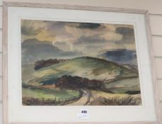 Rowland Suddaby (1912-1973)watercolour,Country landscape,signed,36 x 50cm.