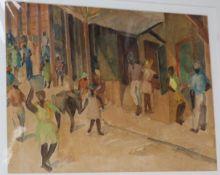 Vera Alabaster (1889-1964) watercolour, Sketch for an oil - Jamaica, inscribed verso, 25 x 34cm