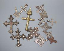 Fourteen Ethiopian coptic cross pendants