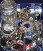 Assorted jewellery including necklaces, bangles, earrings etc. and five Chinese white metal