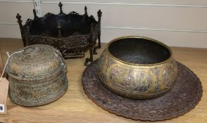 A group of mixed Asian metalware