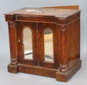 A Victorian Tunbridgeware miniature side cabinet with secret drawer back