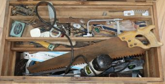 A tool chest and tools W.74cm