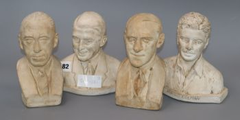 Four 1950's plaster busts of British actors
