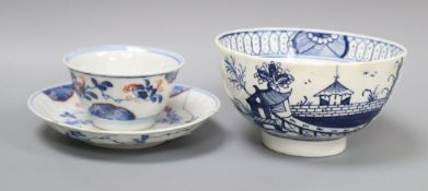 A late 18th century Liverpool blue and white sugar bowl and a Chinese teabowl and saucer