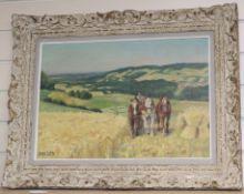 George Lattes (1909-1989), oil on canvas, Harvest scene, signed, 37 x 53cm