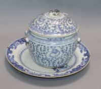 An 18th century Chinese blue and white charger and a 19th century Chinese blue and white Kamcheng