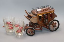 A Wells Fargo & Co model stagecoach, six glasses, a money clip, a brush and a letter