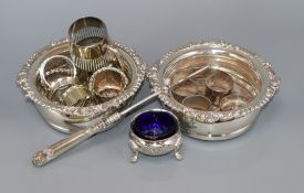 A pair of Regency style plated coasters and sundry plated wares