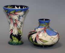Two Moorcroft Lily pattern vases tallest 15.5cm