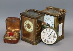 Two carriage timepieces, pocket watch and a travelling inkwell