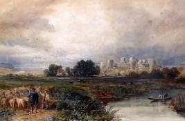 David Cox Jnr (1809-1885)watercolourPevensey Castle, SussexAbbott & Holder label verso13 x 20in.